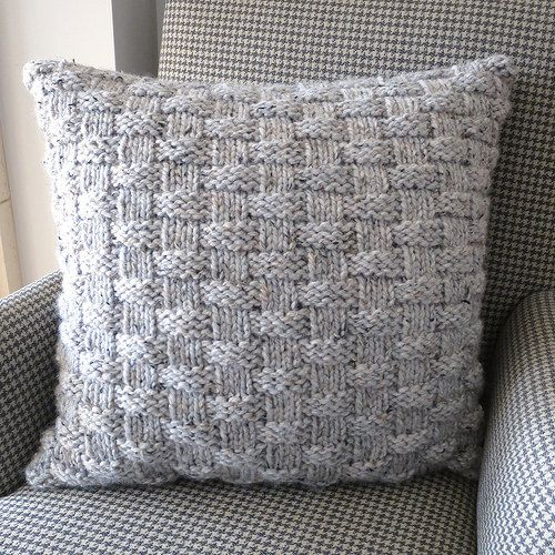 Iron Craft '14 Challenge #23 - Knit Basket Weave Pillow 3 skeins Thick+Quik bulky!  20 inch knitted in the round.