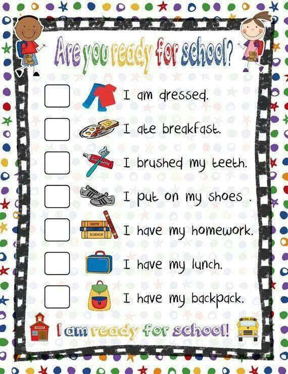 Ready for school checklist