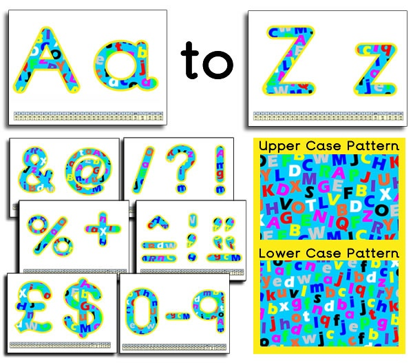 Letter / Alphabet themed classroom display lettering. Upper and lowercase letter of the alphabet images have been used to create this alphabet themed display lettering resource, great for any literacy themed classroom display. The format used is a Microsoft Word document so that you can either print off the whole document or chose the letters you want and even resize them. Lots more GREAT display lettering resources available. We also have 1000s of educational printables available to…