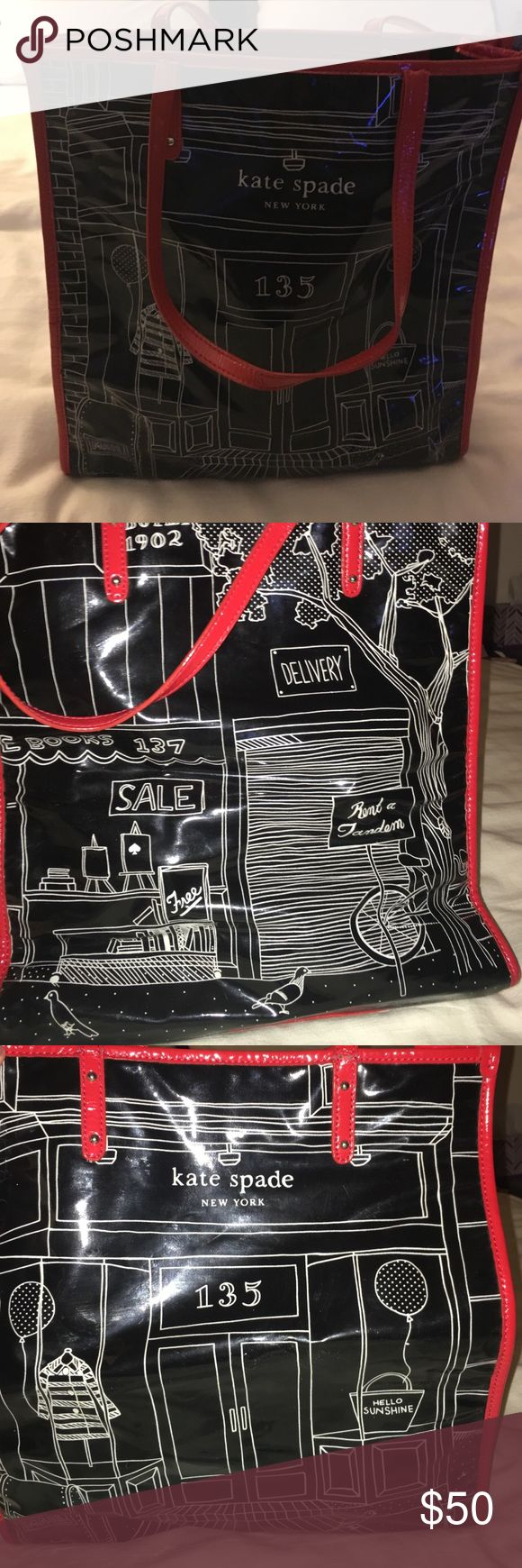 Kate Spade illustrated tote bag Kate Spade nylon tote with illustration design. Red handles and canvas inside. kate spade Bags Totes