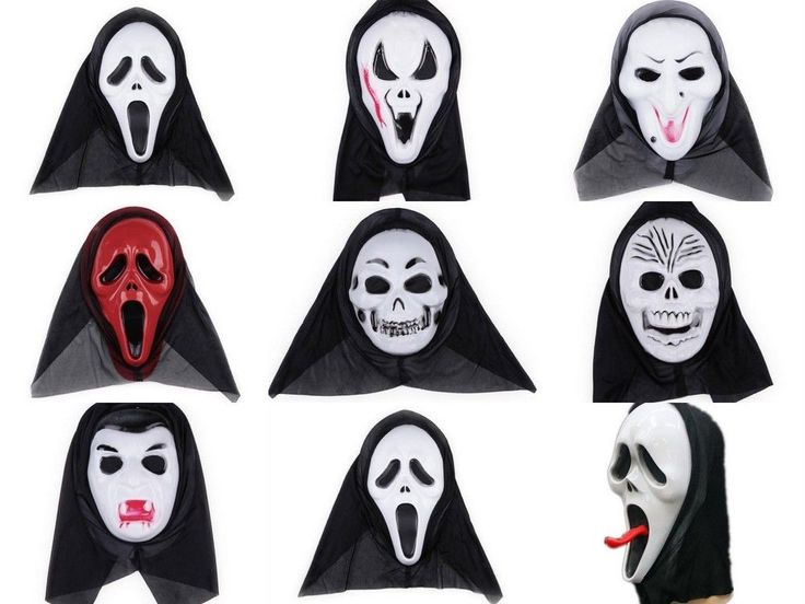 Halloween Party Cosplay Skull Ghost Scary Cowl Hat Scream Costume Mask Face Hood…