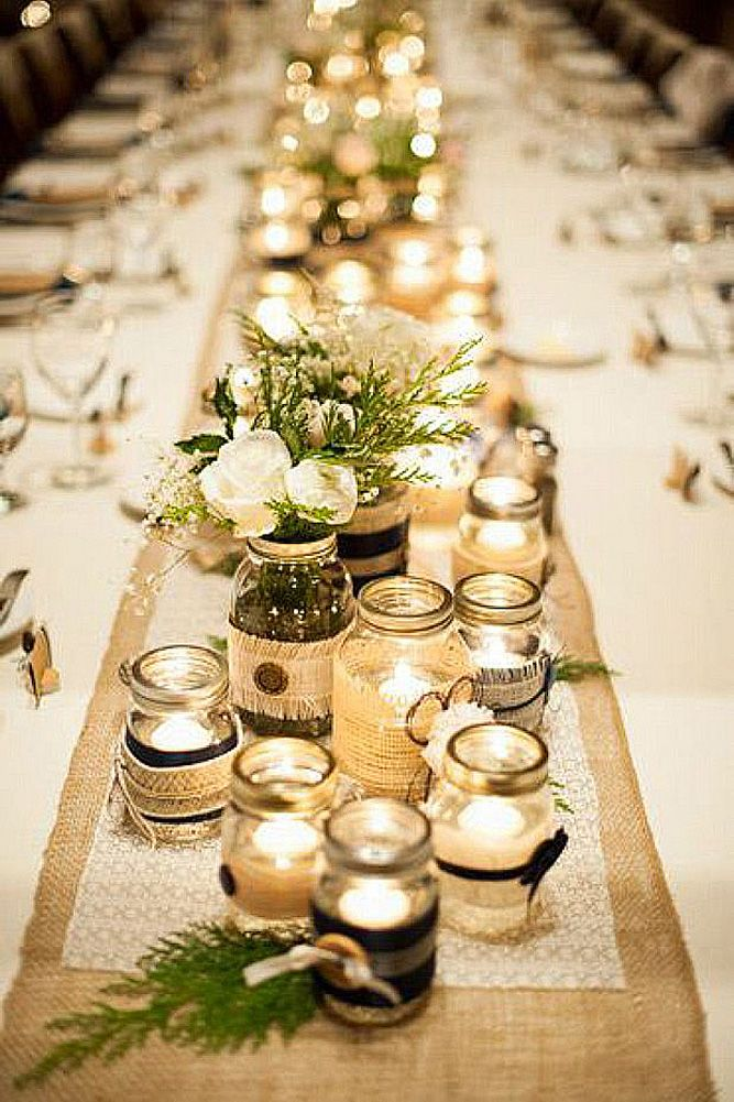 12 Gorgeous Mason Jars Wedding Centerpieces ❤ See more: http://www.weddingforward.com/mason-jars-wedding-centerpieces/ #weddings #decorations