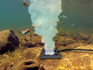KoiAir 1 Aeration System oxygenates water in medium to large koi ponds.  Aeration also keeps ice open during winter for a fraction of the operating cost of pond heaters.