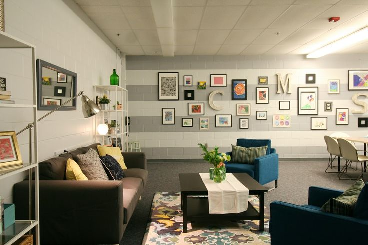 teacher lounge makeover with sherwin williams olympus white and thick stripes