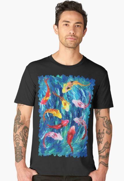 koi fish rainbow abstract paintings Men's Premium T-Shirt #mens #premium #tshirt #clothing #Fish #Koi #Dragon #Water #Sea #River #Exotic #Animal #Oil #Watercolor #Pattern #PopArt #Vintage #Shark #Aquarium #Ornament #Decoration #Ornamental #Dorry #Nemo #Finding #Beautiful #Tropic #Whale #Dory #Beauty #Rainbow #FullColor #Colorful #Acrylic #Blue #Teal #Japanese #Japan #Tattoo #Yakuza