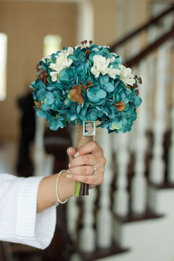 Teal Hydrangea bouquet rustic country bouquet by DressMyWedding, $90.00