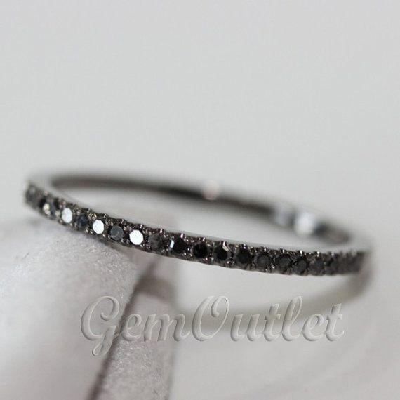 Black Diamond Ring/Diamond Ring 0,25 ct Pave 14K or blanc bague bague de mariage moitié Eternity Ring WeddingBand sur Etsy, 124,06€