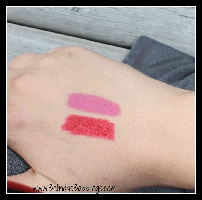 Swatches With Flash- Maybelline Color Blur Lip Pencils in I'm Blushing (45) and Cherry Cherry Bang Bang (25)