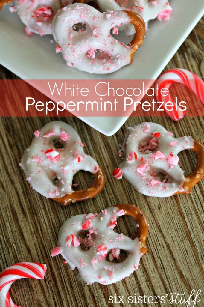 White Chocolate Peppermint Pretzels recipe from @sixsistersstuff | Looking for a little snack to share with everyone on Christmas? These Easy White Chocolate Peppermint Pretzels are so easy to make and everyone will LOVE them! The best part is, you can whip them together in a matter of minutes, stick them in the freezer for about 5 minutes and you are good to go!