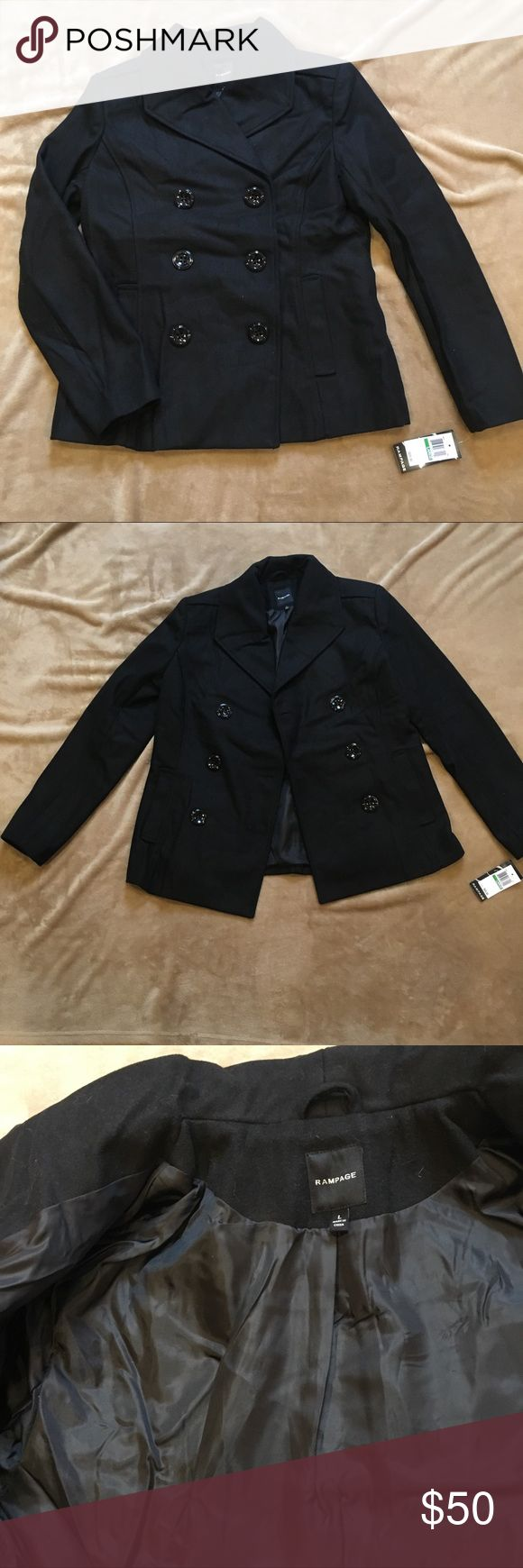 """Rampage black pea coat 🖤 Simple and chic. Measures 17"""" across shoulders. 100% polyester. Rampage Jackets & Coats Pea Coats"""