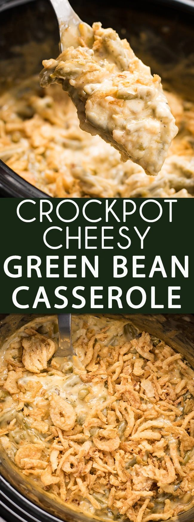 Cheesy Crockpot Green Bean Casserole - This green bean casserole recipe is everyone's favorite holiday side dish made even easier in the Crockpot!  Full of either fresh, frozen, or canned green beans, cream of mushroom soup, french fried onions and cheese this casserole is an easy crowd pleaser!