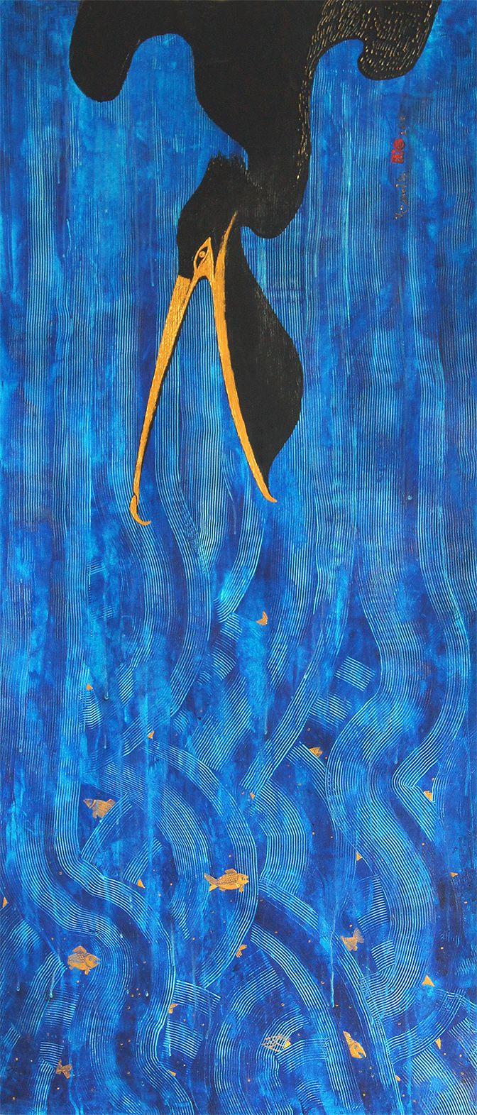 Pelican Series -Food Chain- 140x60 cm paper, acryl