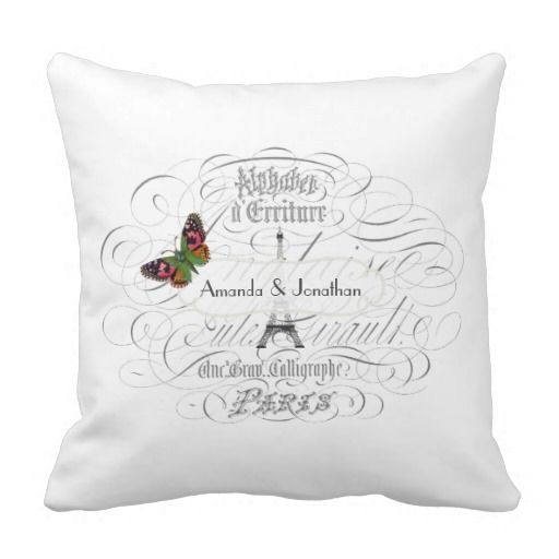 Vintage Paris Wedding Personalized Commemorative Pillows