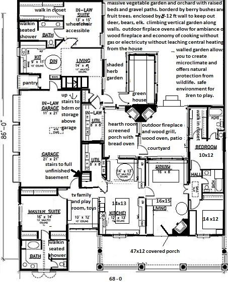 Wheelchair Accessible Multigenerational House Plan: Multi-generational House, Craftsman Style Ranch With Built
