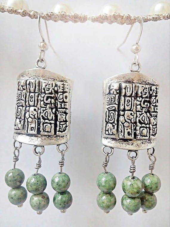 Green Fossil Earrings, Mayan Glyphs, Girlfriend gift, Mayan Jewelry, Tribal Earrings, Mexican Jewelry, Bohemian Style, Honduras. ♥ ♥ ♥ ♥ ♥ ♥ ♥ ♥ ♥ ♥ ♥ Green fossil Stones Earrings, the image depicted in the body is some designs of Mayan Glyphs, the Writing System of the Mayan