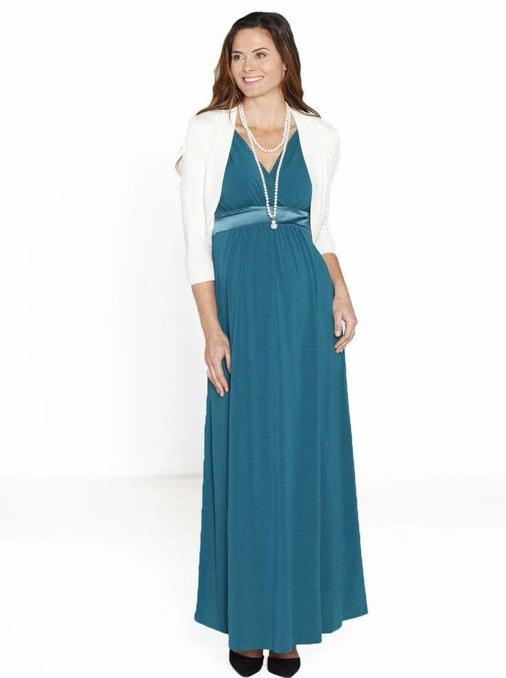 Elegant and comfortable Angel Maternity Evening Dress. Made from imported jersey fabric this soft flowing dress features a cross over front neckline with satin trim on the shoulder and under bust. This style can be worn from the moment you are pregnant till way after the birth. Add our ivory bolero,perfect little piece to go on a cooler evening.Gentle machine wash cold in a garment bag. Fabric:  Dress: 100% Polyester Bolero:71% Viscose 29% Spandex If you require an exchange/ refund th...