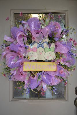 Kristen's Creations: Easter Mesh Wreath Tutorial 2012- She shows you how to make it step by step. This lady is amazing!.