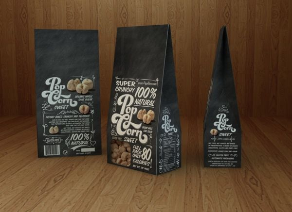 Sweet Popcorn Calligraphy, Graphic Design, Packaging