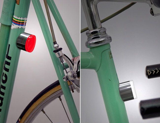 Each LED light attaches to the bike frame via a magnet: stick it to your ride and it automagically turns on. Remove it, and the pocket-friendly light shuts off and stows away, ensuring exactly 0% chance of theft. The magnetic light fits securely anywhere on the frame; it's smartly designed with an angle that optimizes visibility. $30/ for 2 w/free shipping