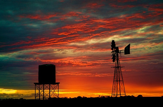 A magnificent sunset in the Vredefort Dome rea in the Free State in South Africa
