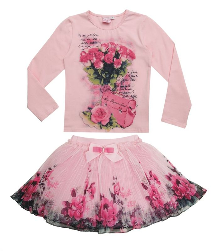 New Fashion 2015 Boutique Outfits Sets For Cute Kids Girl Print Floral Long Sleeve Shirts Tops+Tutu Skirts Sets With Bow Clothes