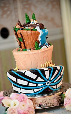 This cake represents some of our favorite rides at Disneyland: Splash Mountain, Thunder Mountain, and Space Mountain.