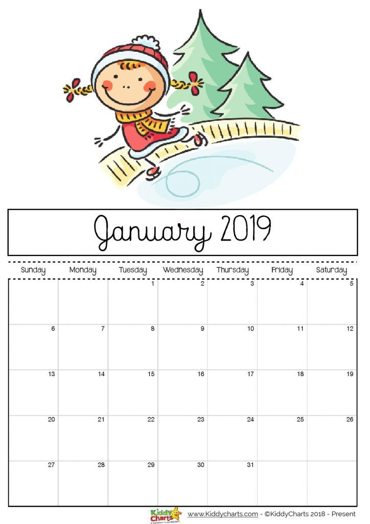 Free printable 2019 calendar for kids calendar 2019 Print