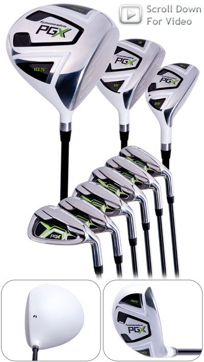 Pinemeadow Golf PGX Golf Set…Set includes a 460cc Driver, 3 Wood, Hybrid and 5-PW Irons…White Nano Finish is a real stand out on the course.