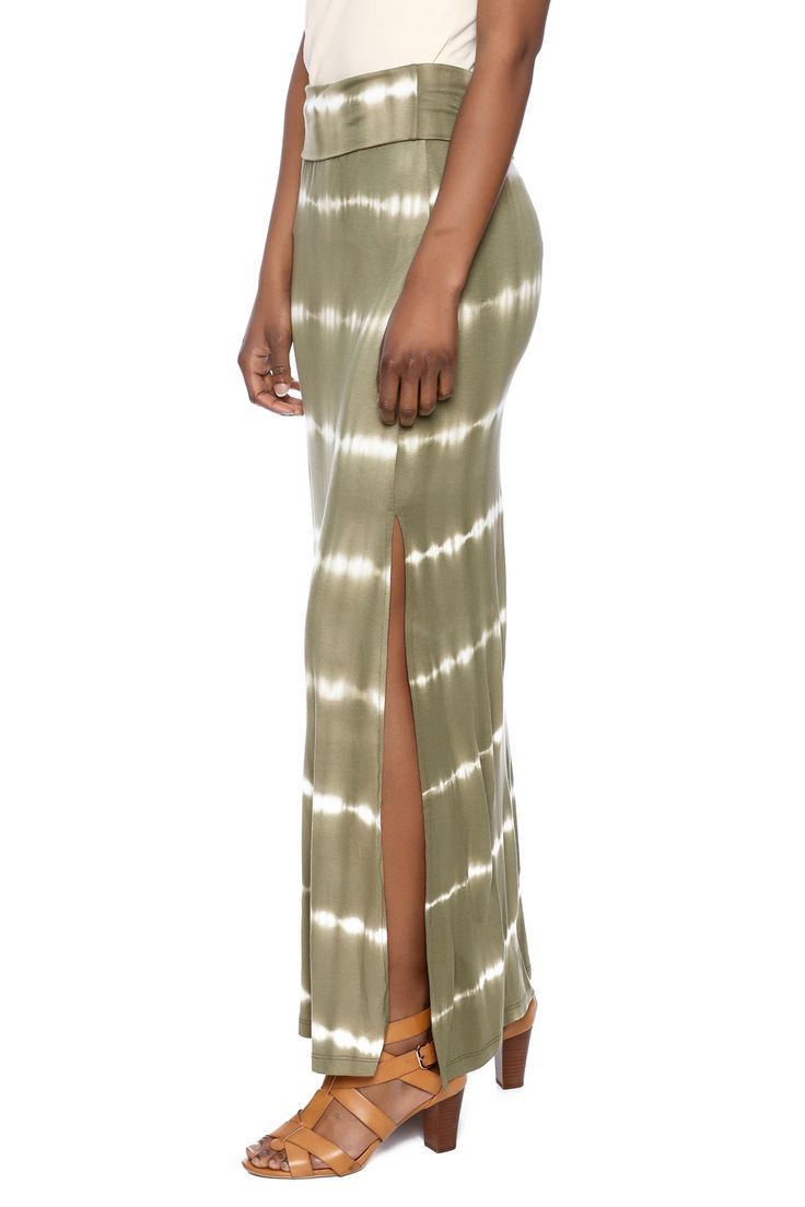 Olive tie dye printed maxi skirt, with a fold over waistband and high slit sides.    Olive Maxi Skirt by Cherish. Clothing - Skirts - Maxi Illinois