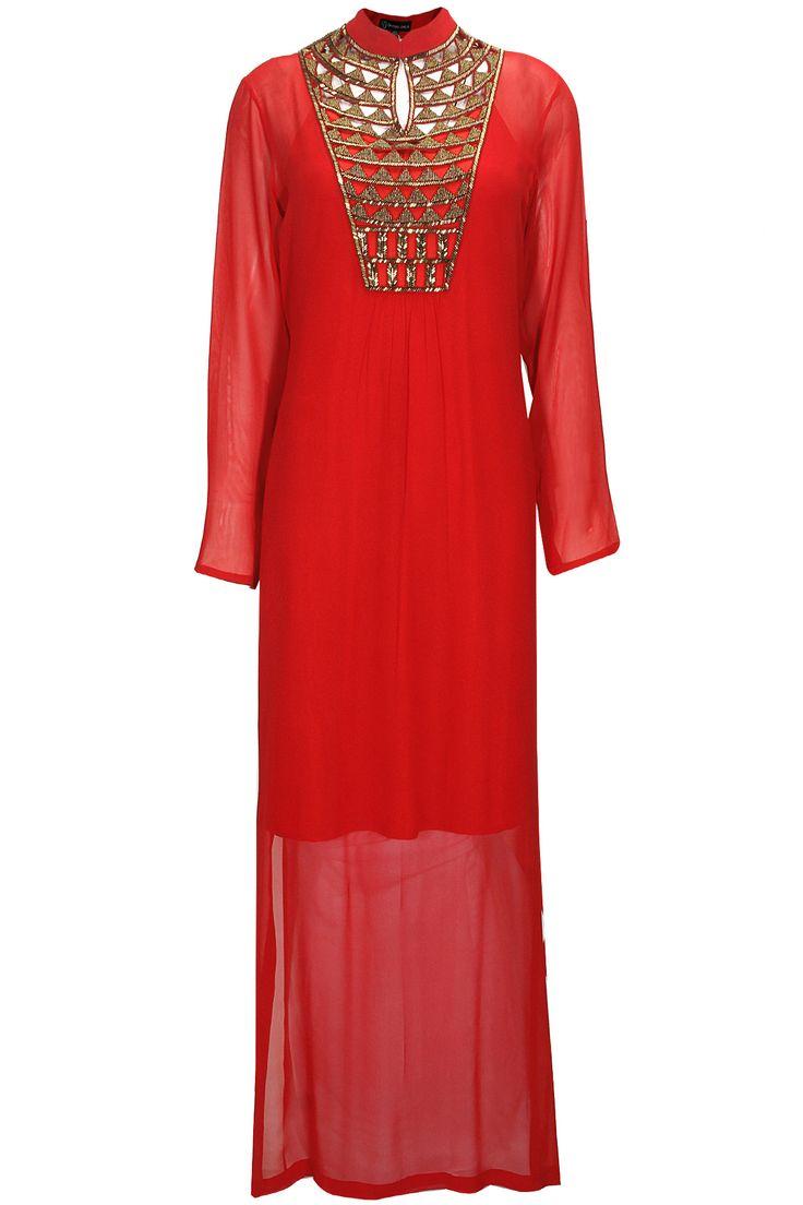 Red embroidered long dress by Urvashi Joneja. Shop at: www.perniaspopups.... #dress #stylish #fashion #urvashijoneja #shopnow #perniaspopupshop #happyshopping