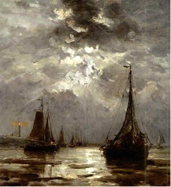 Beached bomschuiten by moonlight by Hendrik Willem Mesdag