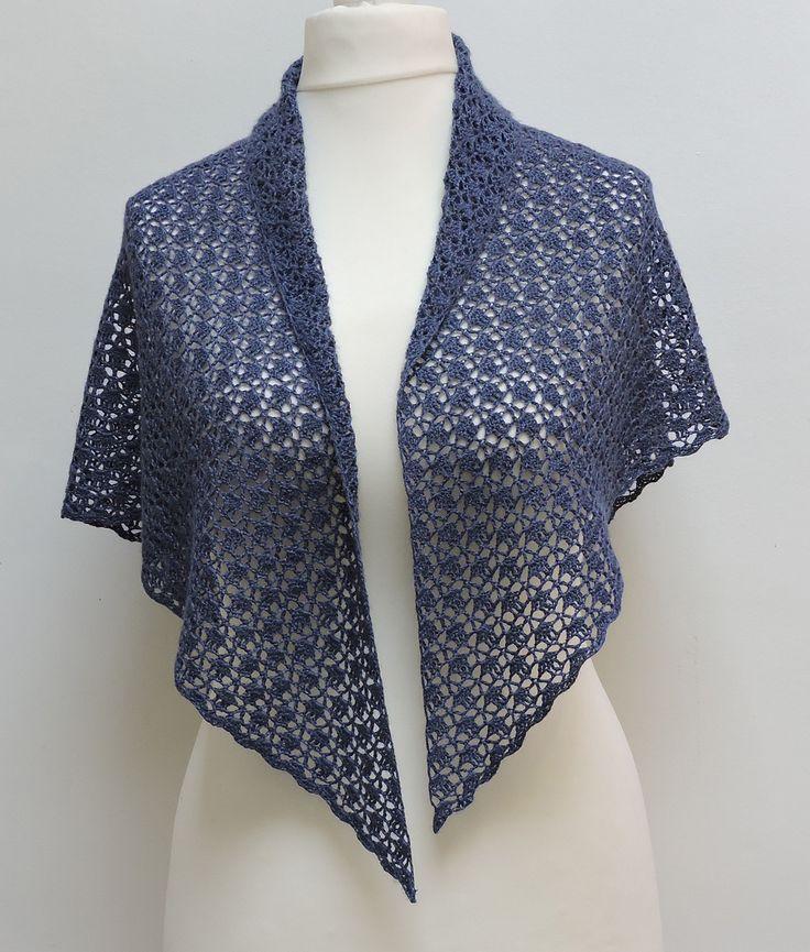 Châle bleu, soie et alpaga, au crochet, pour femme : Echarpe, foulard, cravate par titlaine