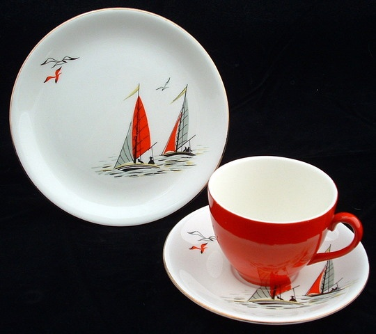 1950s Alfred Meakin Tea Set, Red Sails Pattern
