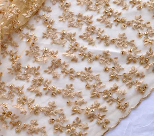 Approx $13 per metre. Special / high-end hand-beaded gold wedding fabric / dress Mesh Embroidery Fabric / lace fabric - Taobao