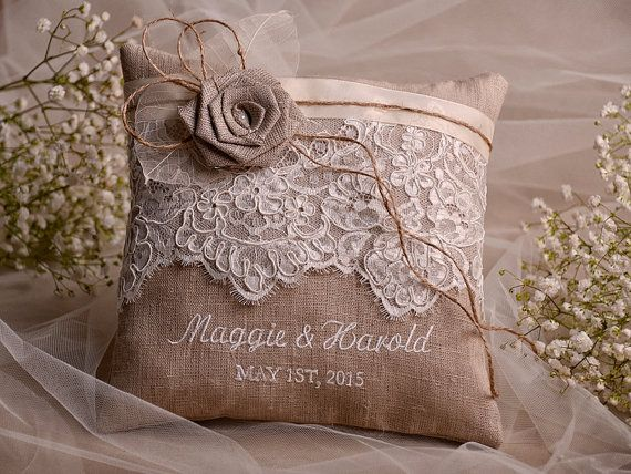 Lace Wedding Pillow Ring Bearer Embroidery Names Shabby Chic Natural Linen On Etsy