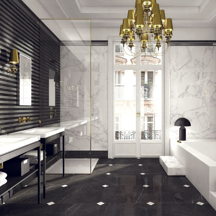 Marble Black White Stripe Gold Bathroom Design