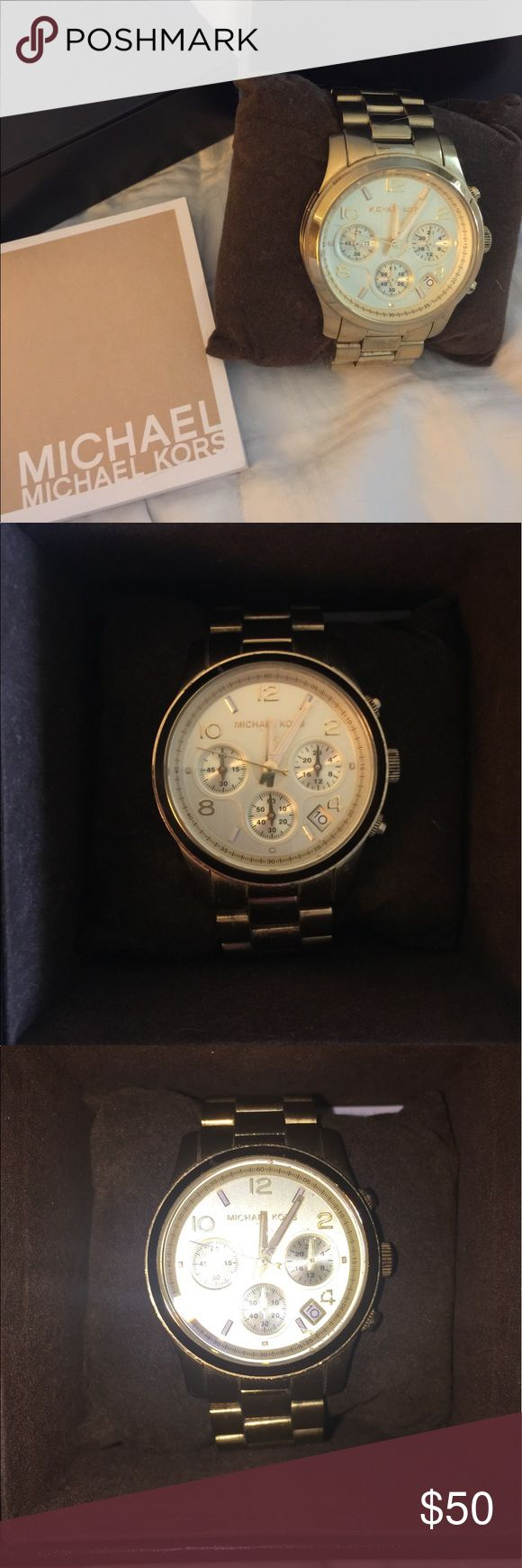 Michael Kors MK5055 Runway Chronograph Watch Pre loved authentic Michael Kors style MK5055 runway chronograph gold oversized ladies watch. This is a pre owned pre loved piece and shows signs of wear. Please see photos. The watch needs a battery and I no longer have the extra link. Box and operation book included. Statement-making yet feminine!  • Oversized Watch  • Push Clasp  • 38mm Case  • Water Resistant Up To 5 ATM  • 7.25 inches Michael Kors Accessories Watches