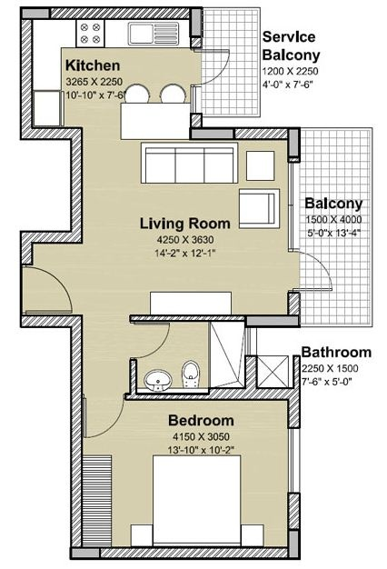 floor plan 1 bhk type A