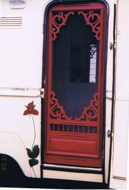 Camper trailer screen door ♥ I know this door is for a camper, but it's EXACTLY what I'd like to have at the front door of my house.                                                                                                                                                     More