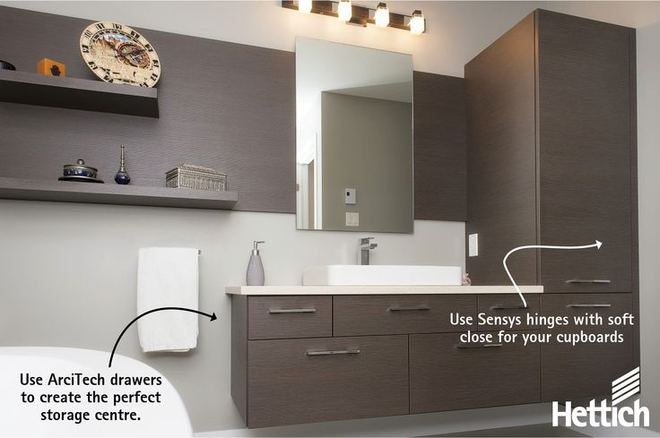 Create the perfect storage solution in your bathroom with Hettich. Click on the pin for more information! #bathroomstorage #drawerstorage