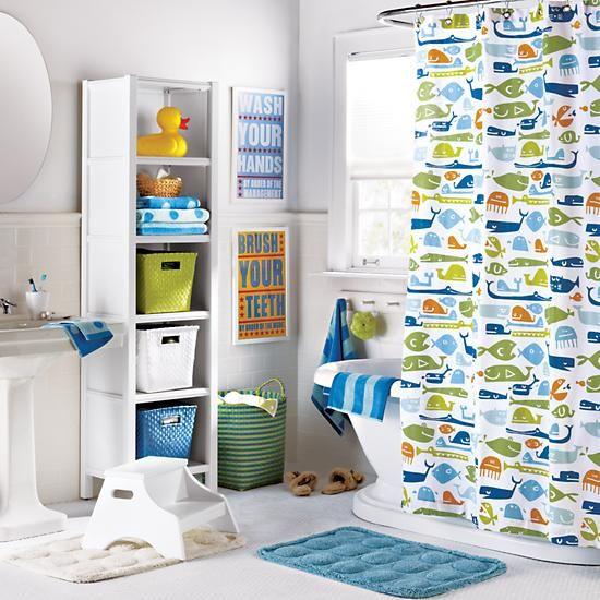 The Land Of Nod | Kids Bathroom Accessories: Kids Fish Pattern Shower  Curtain In Bathroom
