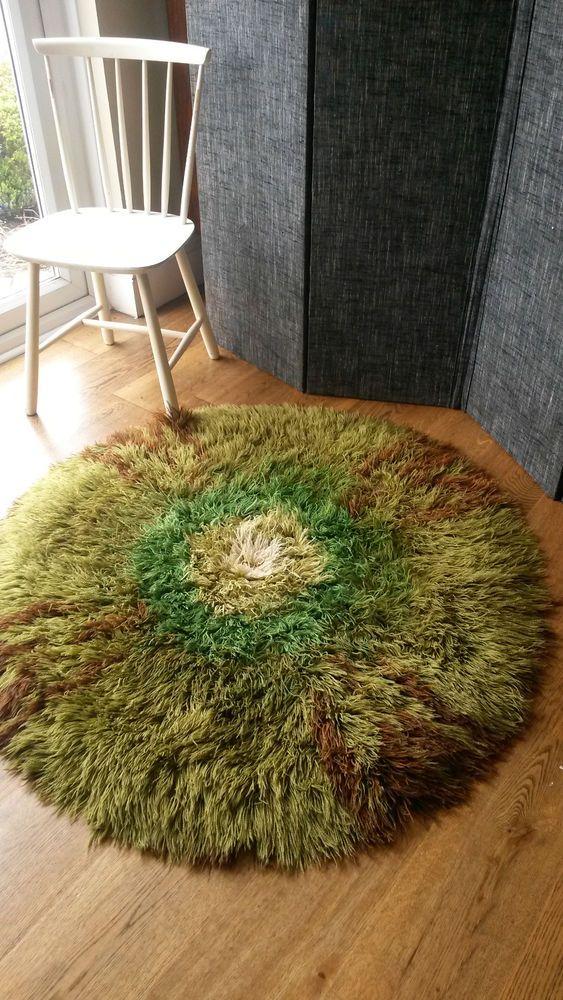Retro Danish style Rya style wool shag rug - circular vintage latch hook rug in Home, Furniture & DIY, Rugs & Carpets, Rugs   eBay
