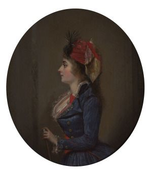 Michel Garnier, Portrait of Josephine de Beauharnais, 1790, oil on mahogany panel, 12.75 x 10.5 inches (Snite Museum of Art, University of Notre Dame; gift of Michael and Susie McLoughlin, 2015.079)
