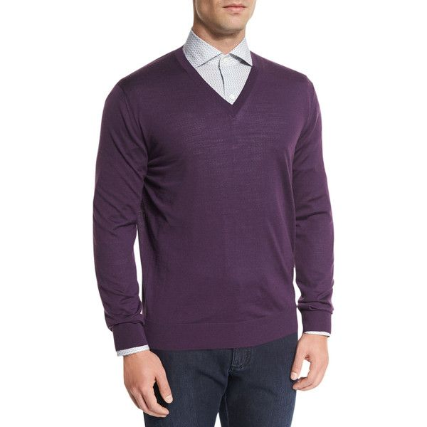 Ermenegildo Zegna High-Performance Wool Sweater ($238) ❤ liked on Polyvore featuring men's fashion, men's clothing, men's sweaters, men's apparel sweaters, plum, mens v neck sweater, mens woolen sweaters, mens vneck sweater, mens wool sweaters and mens merino wool v neck sweater