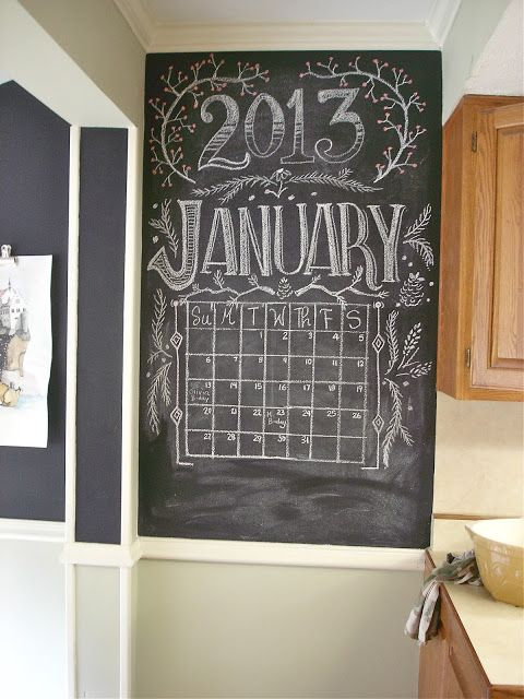 Chalkboard wall calendar - pretty typography, plants, etc. <3