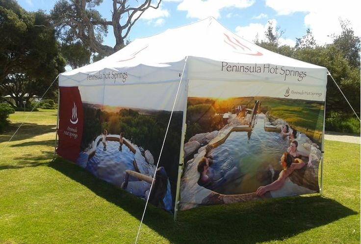 Pop up marquees with custom printed walls.