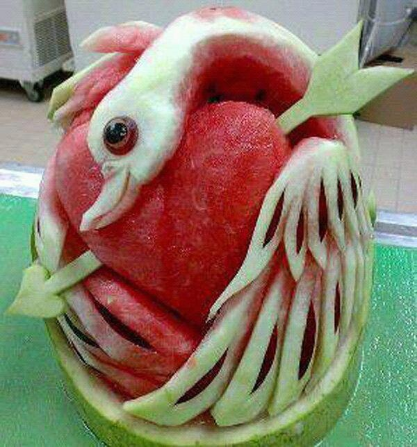 Best Fruit Vegetable Art Images On Pinterest Carved - Incredible sculptures carved watermelon