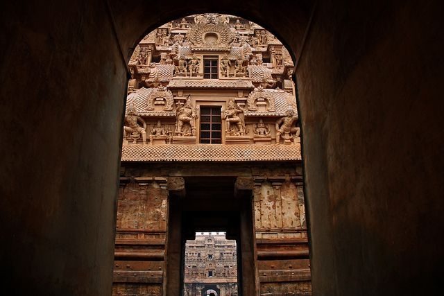 "Gate of Sri Brihadeeshwara temple, one of ""Great Living Chola Temples"", Tanjavur, Tamil Nadu, India"