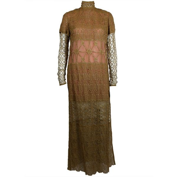 Preowned Chloe Glittering Gold Crochet Lame Illusion Gown, 1980s ($1,500) ❤ liked on Polyvore featuring dresses, gowns, multiple, brown dress, gold ball gowns, crochet dress, gold evening gowns and gold lame gown