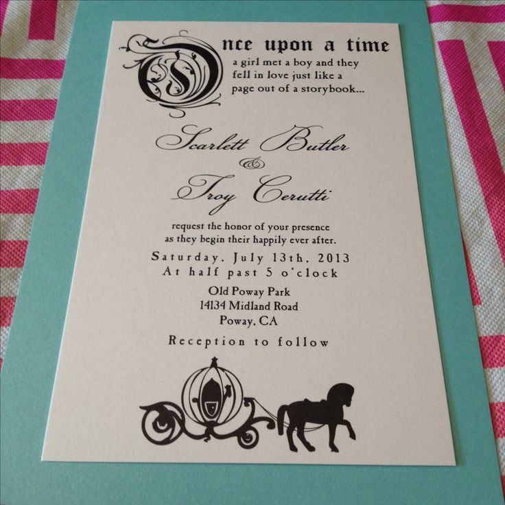 Fairytale Wedding Invitation. Once Upon a Time. Wedding Invite. DIY Invite. Fary Tale Wedding.